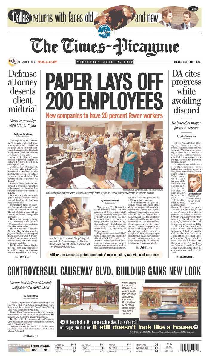 Mass layoffs or 'job notifications'? Advance's attempt to spin its Deep South newspaper guttings